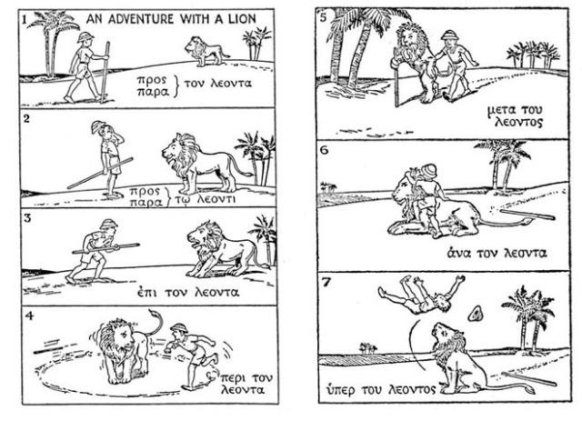 zeven plaatjes met een man en een leeuw