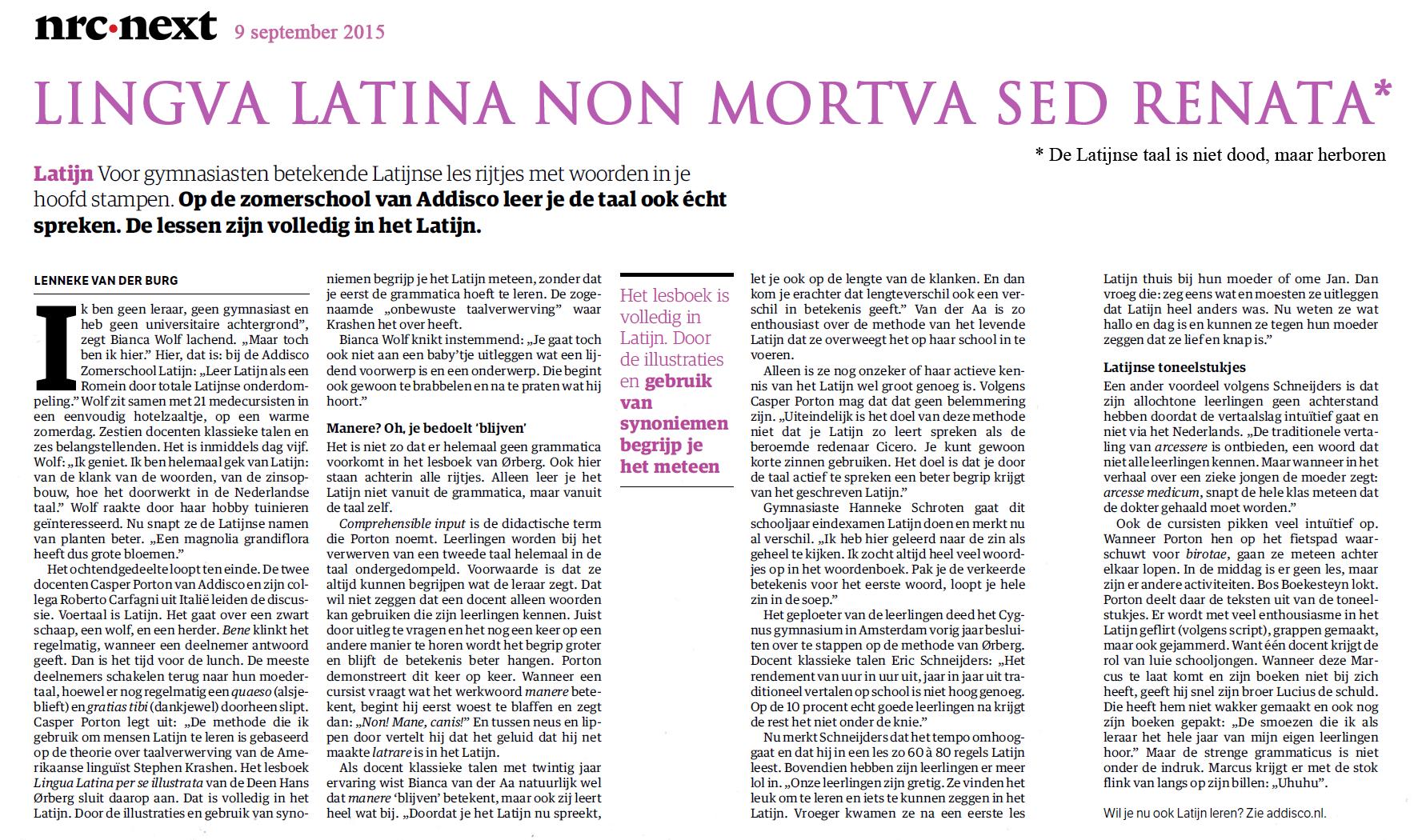 Lingua Latina non mortua sed renata