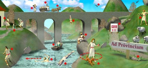 Een afbeelding met verschillende figuurtjes die handelingen uitvoeren om de Latijnse voorzetsels uit te leggen.