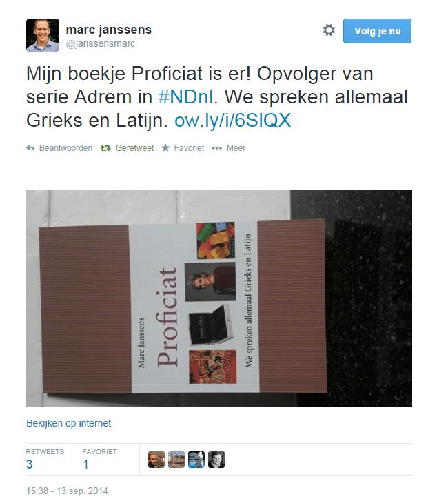Screenshot van het twitter-bericht dat Marc Janssens op 13 september 2014 verspreidde ter promotie van zijn boek Proficiat - We spreken allemaal Grieks en Latijn